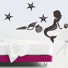 Wall Decal Vinyl Sticker Mermaid Nymph Deep Sea Nursery Kids Bedroom(r389)
