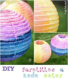 Hoy toca DIY: unos farolillos de papel multicolores