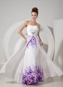 Elegant Sweetheart Ruched White Printed Dress For Prom Wear