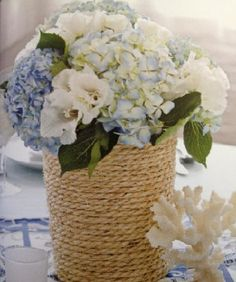 rope vase with hydrangeas - Nautical Wedding Ideas- for cocktail tables at reception Nautical Wedding Centerpieces, Nautical Wedding Theme, Wedding Reception Decorations, Flower Centerpieces, Centerpiece Ideas, Reception Ideas, Flower Vases, Beach Wedding Flowers, Beach Cottage Decor