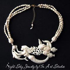 Mermaid Necklace with Dolphin and Pearls White Mermaid Jewelry