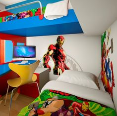 Be Amazed With These Superhero Kids Rooms : Fetching Superhero Kids Room Design with Wonderful Loft Bed and Blue Study Desk also Red Door Nightstand Table Underneath