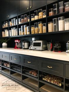 Mind-blowing Kitchen Pantry Design Ideas for Your Inspiration - Kitchen Pantry Cabinets Pantry Room, Kitchen Pantry Design, Kitchen Pantry Cabinets, Kitchen Organization Pantry, New Kitchen, Kitchen Dining, Kitchen Decor, Pantry Ideas, Pantry Shelving