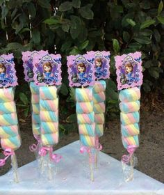 Sofia the First Marshmallows Party Favors by FantastikCreations Sofia The First Birthday Party, Unicorn Birthday Parties, Unicorn Party, Birthday Party Decorations, Craft Party, Candy Party Favors, Kebab, Candy Bouquet, Princess Birthday