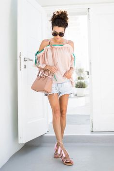 summer outfit, casual outfit, beach outfit, summer vacation outfit, summer travel outfit, summer getaway outfit, comfy outfit - blush cold shoulder top, distressed denim shorts, blush tassel lace up sandals, brown round sunglasses, blush mini bag