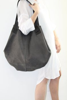 Dark Grey Leather Tote Bag Soft Leather Bag Big by LadyBirdesign