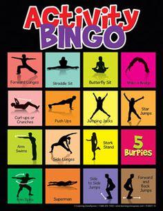 $59.95 Activity Bingo - Great for phy. ed. classes - 30 cards w/ heavy duty lamination