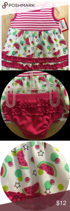 Pretty Infant Play Date Dress. 3-6 M Cute dress with pink stripes and watermelon print. Comes with a pink ruffle diaper pant.  Great for baby's play date. Cool, cute, soft and comfy. Buttons in back makes it easy to put on and take off. Dresses Casual