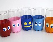 Pac-Man Ghost Glasses- Five PacMan Inspired Ghost Drinking Glasses