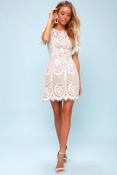 Got a full party schedule? The Lulus Pearson White Lace Short Sleeve Dress has got you covered! Lovely eyelash lace sheath dress with fluttering short sleeves. Formal Dresses With Sleeves, Hoco Dresses, Lace Dress With Sleeves, Lace Sheath Dress, Short Sleeve Dresses, Short Sleeves, Shower Dress For Bride, White Bridal Shower Dress, Bridal Shower Dresses