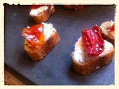 Goat Cheese with Preserved Tomatoes on Baguette from Mom's Kitchen Handbook