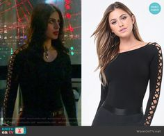 Isabelle's black top with lace up sleeves on Shadowhunters Casual School Outfits, College Outfits, Chic Outfits, Fashion Outfits, Emo Outfits, Fashion Boots, Nerd Fashion, Fashion Tv, Lolita Fashion