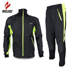 ARSUXEO Winter Warm Up Fleece Thermal Cycling MTB Bike Bicycle Jacket Pants Suit Windproof Waterproof Wind Coat Clothing Set #Affiliate