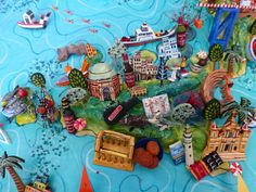 Sara Drake - Sicily Map. Detail from a large 3D illustrated map of Italy - papier mache, acrylic paint, balsa wood and mixed media. 2014