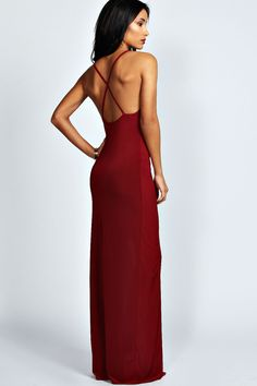 Sophie Plunge Neck Front Split Maxi Dress - Dresses - Clothing