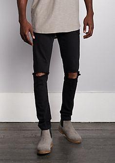 Flex Vintage Black Blown Knee Skinny Pant