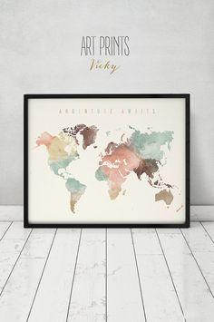 Adventure awaits Large Travel map World map by ArtPrintsVicky