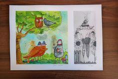 Original Watercolor . Illustration  Bird hazard   U.Wojda