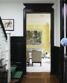 Like the carpet on the stairs and the yellow living room. Philip Gorrivan Design