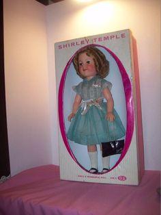 "Stunning 17"" 1950s  Original Flirty Shirley Temple Doll &, Purse in Original Box #ShirleyTemple #DollswithClothingAccessories"