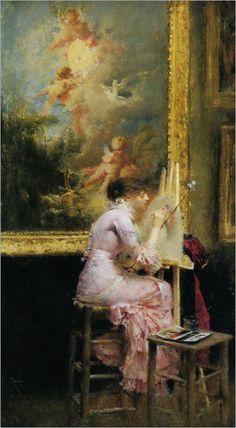 Pascal Adolphe Jean Dagnan Bouveret (1852-1929) ~ Le Jeune Artiste Dans La Musee 1881 ~Young Watercolourist In The Louvre ~Oil On Canvas 1891