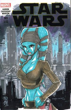 Aayla Secura sketch/Marvel Comics 001 sketch cover by HodgesArt