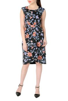 Butterflies And Florals Print Dresses, Spring Dresses Plus Size Shop women's designer fashion - Little Black Dress - Day-to-Evening Dresses - Day Dresses -   eShakti