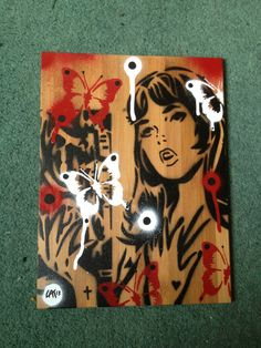 comic book woman painting on bamboo wooden by AbstractGraffitiShop, $40.00
