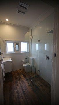 all white bathroom with dark wood tile floors All White Bathroom, Modern Bathroom, Master Bathroom, Bathroom Ideas, Wood Tile Floors, Flooring, Dark Wood, Bathtub, Standing Bath