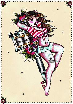 Tattoo Gun Pin by Artist Susana Alonso Pin-Up Girl Canvas Art Print – moodswingsonthenet