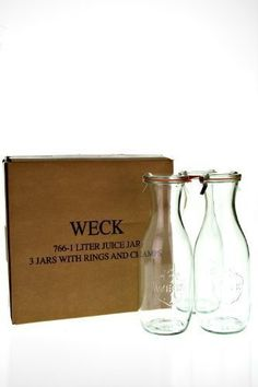 Complete your breakfast or brunch spread with your favorite fresh-squeezed juice in this classic glass juice jar from Weck. Doubles in a pinch as a flower vase for a rustic, farmhouse look.  - http://kitchen-dining.bestselleroutlet.net/product-review-for-weck-766-juice-jars-35-9-ounce-set-of-3/