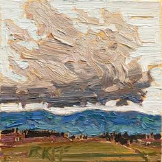 "Daily Paintworks - ""Cloud and Field: 6x6 oil on panel"" - Original Fine Art for Sale - © Ken Faulks"