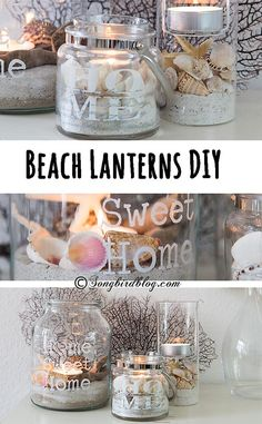 Craft Gifts For Father - Fantastic Present Strategies Summer Decorating Should Be Light, Easy And Fun, Just Like Summer. This Beach Lanterns Diy Project Is Just Perfect. It Is An Easy And Simple Way To Add Summer Decor. Seashell Crafts, Beach Crafts, Summer Crafts, Diy Crafts, Diy Summer Projects, Beach Themed Crafts, Food Crafts, Garden Crafts, Beach House Decor