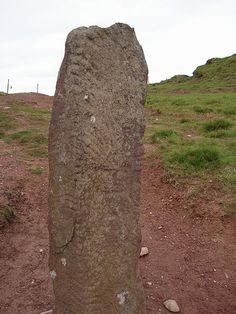 Ogham Stone at An Gallán, Brandon Ridge, Dingle Peninsula, County Kerry, Ireland.