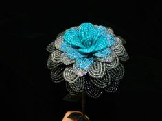 Gothic Black and Turquoise French Beaded Flower by BeadedFleur, $27.00