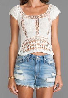 Shop for Lovers + Friends Calisto Crochet Top in White at REVOLVE. Crochet Shirt, Crochet Yarn, Crochet Summer Tops, Crochet Tops, Shrug Cardigan, Tunic, Weekend Style, Crochet Fashion, Revolve Clothing