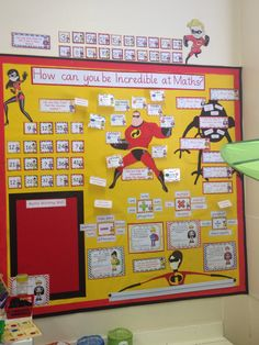 The Incredibles maths display Superhero Classroom Theme, Disney Classroom, Classroom Board, Math Classroom, Classroom Themes, Bulletin Boards, Maths Display Ks2, Maths Classroom Displays, Primary School Displays