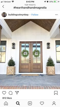 35 Modern Farmhouse Exterior Ideas - When they were first introduced to the public back in the late the first models of fiberglass exterior doors, which are somewhat similar to tha. Dream House Exterior, Dream House Plans, Exterior House Colors, Exterior Design, Exterior House Lights, Exterior Doors, Porte Cochere, Stained Front Door, Board And Batten Exterior