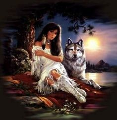 Native American Princess. wow how ironic there is a grey wolf with her!