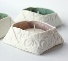 Folded Porcelain Tea Light Holders | Lauren DenneyLauren Denney