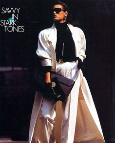 "One of ELLE's most consistent readerships, from its very first year in publication, has been the powerful, professional woman. Fashion stories in 1986 were heavily styled toward that iconic Working Girl shoulder, and power suits in ""quiet"" power colors such as this white Anne Klein ensemble. (January 1986)"