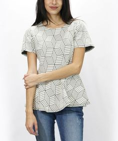 #zulily! White & Gray Geometric Peplum Top by Amerikan Basics, $15 #zulilyfinds