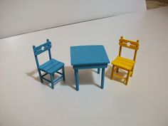 Chairs With Farmhouse Table Modern Dollhouse Furniture, Tiny Furniture, Miniature Furniture, Eames Chairs, Dining Table Chairs, Mini Chair, Sticks Furniture, Composite Adirondack Chairs, Vitrine Miniature