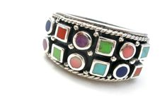 Sterling Silver Ring Coral Turquoise Lapis Gaspeite Chariote Wide Band Size 8  #Southwestern