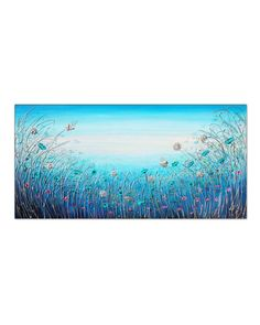 Living Room Canvas, Flower Landscape, Moody Blues, Hand Painted Canvas, Texture Painting, Teal Blue, More Photos, Original Paintings, Tapestry