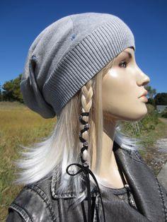 bcee079a3e65a Rag Tie Back Slouchy Beanie Wool Hat Black Merino Wool Blend for ...