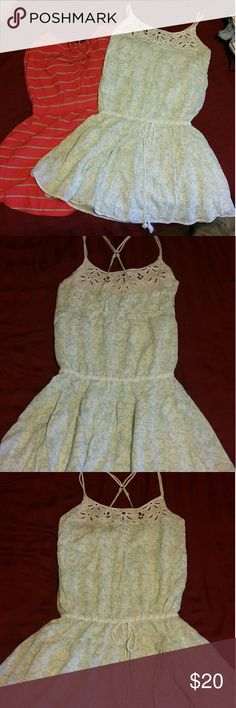 🔥2 for 1🔥 Summer Dresses American Eagle Dress - White w/ light blue floral design. Hurley - Orange and White with a little tie on top in the back  BOTH IN PERFECT CONDITION! American Eagle Outfitters Dresses Mini