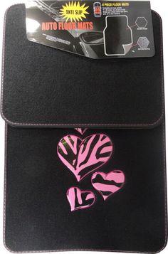 Zebra Pink Heart 4 Pc. Floor Mats www.CarDecor.com