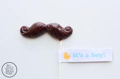 Chocolate Mustache Pops, it's a boy baby shower favor