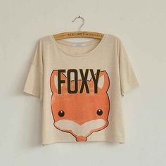 Harajuku Boxy shirt Variants Foxy - Mega Geek - Super Cute - Hip